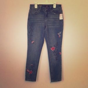 Skinny ankle embroidered jeans 6